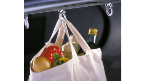Diagram Bag holder, cargo compartment A practical hanging system for carrier and shopping bags in the cargo compartment that prevents the bags from falling over and spilling out the contents. for your 2009 Volvo S40
