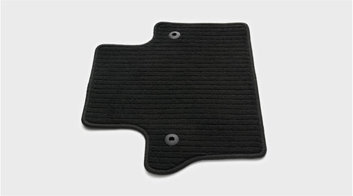 Mat, passenger compartment floor, textile A full-coverage floor mat of textile with rubber backing, which makes it waterproof. The mat gives effective protection for the car's interior against the wet and dirt. Diagram