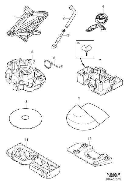 Diagram Tools and jack for your 2009 Volvo S40