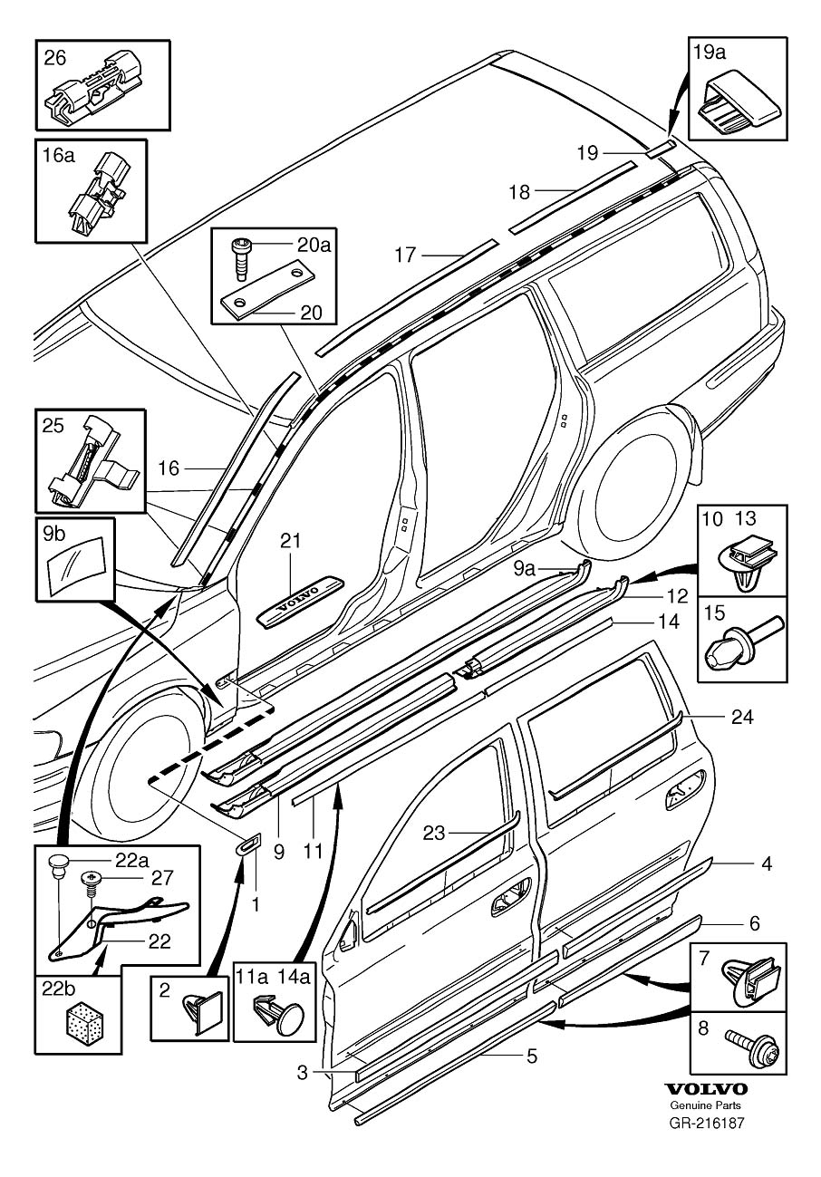 Diagram Trim mouldings with rails V70 for your 2001 Volvo