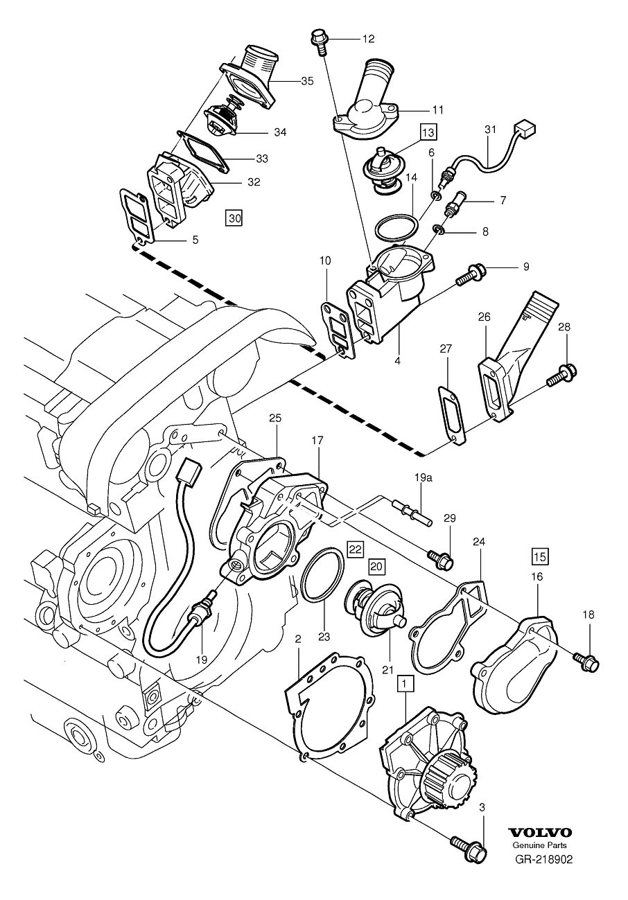 Diagram Coolant pump thermostat for your 2007 Volvo V70 XC 5DRS S.R 2.5l 5 cylinder Turbo