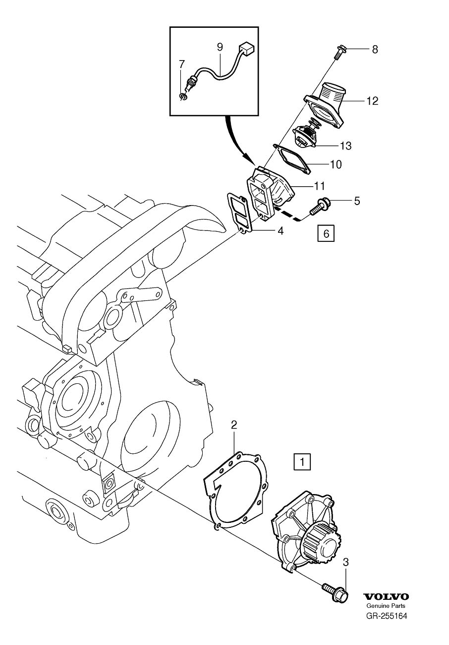 Diagram Coolant pump thermostat 5-Cylinder for your 2007 Volvo V70 XC 5DRS S.R 2.5l 5 cylinder Turbo