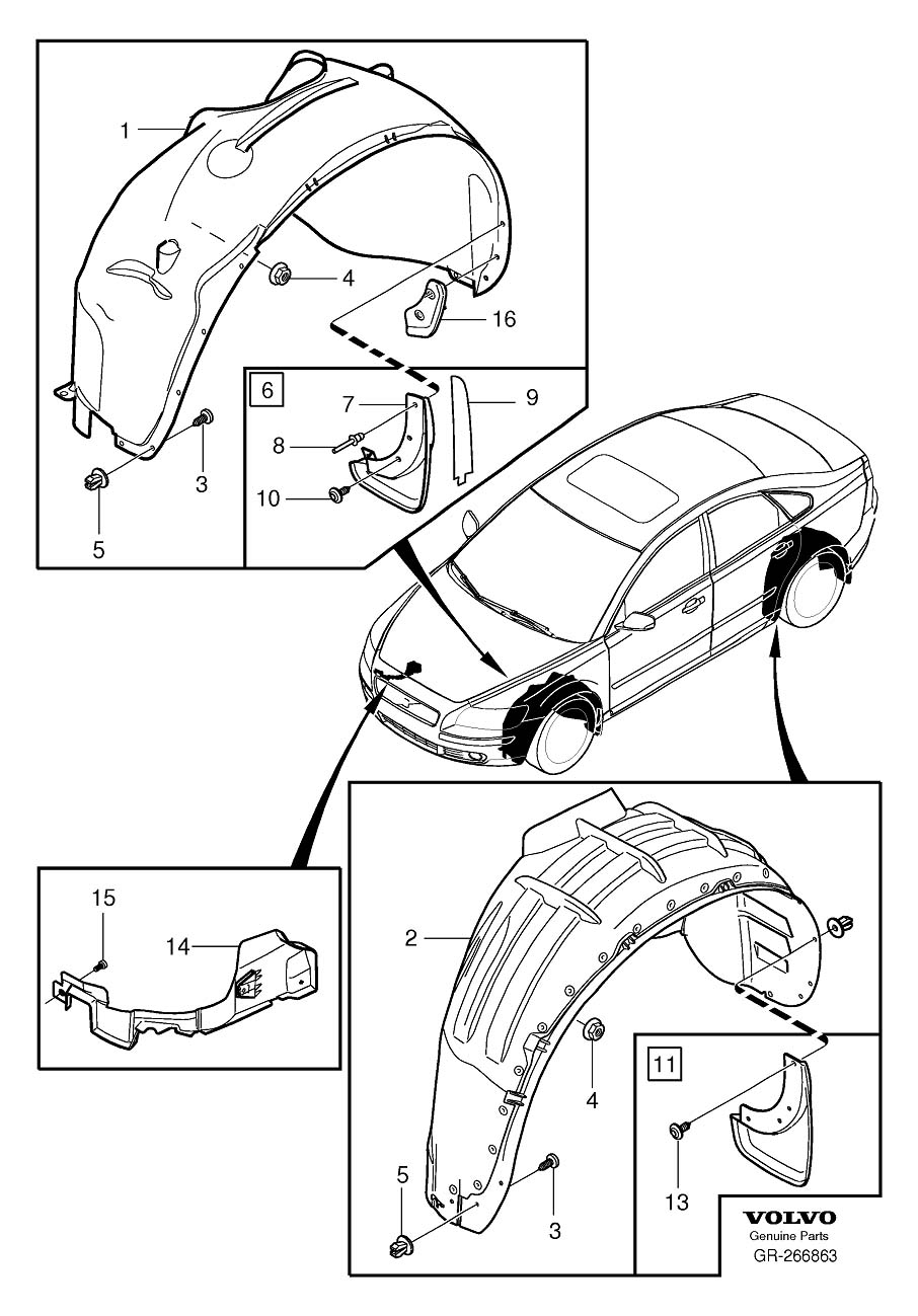 Diagram Mudflaps 2008- for your 2009 Volvo S40