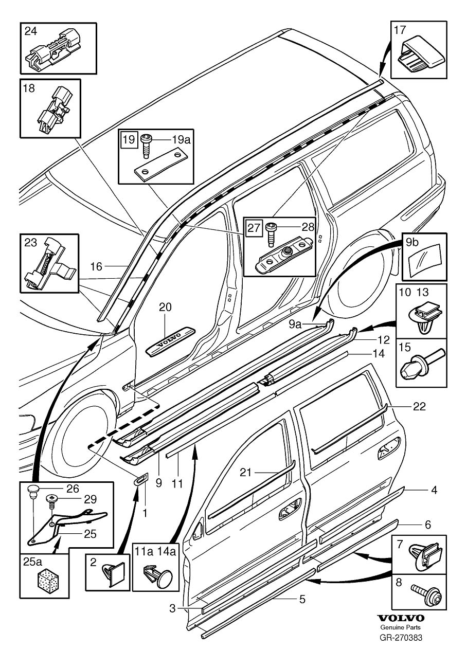 Diagram Trim mouldings without rails V70 for your 1999 Volvo