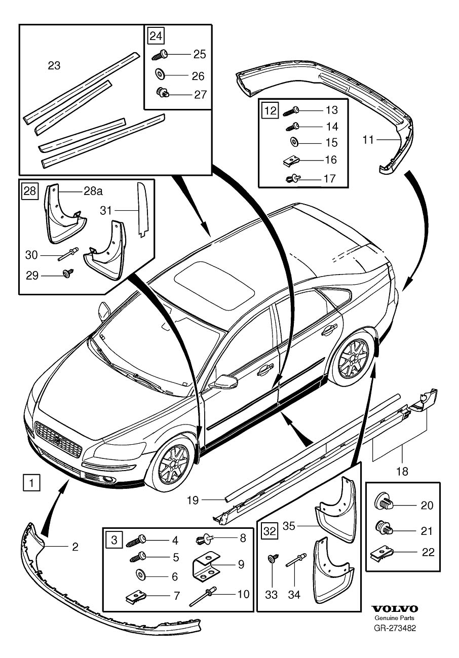 Diagram Mudflaps accessory kits 2008- for your 2009 Volvo S40