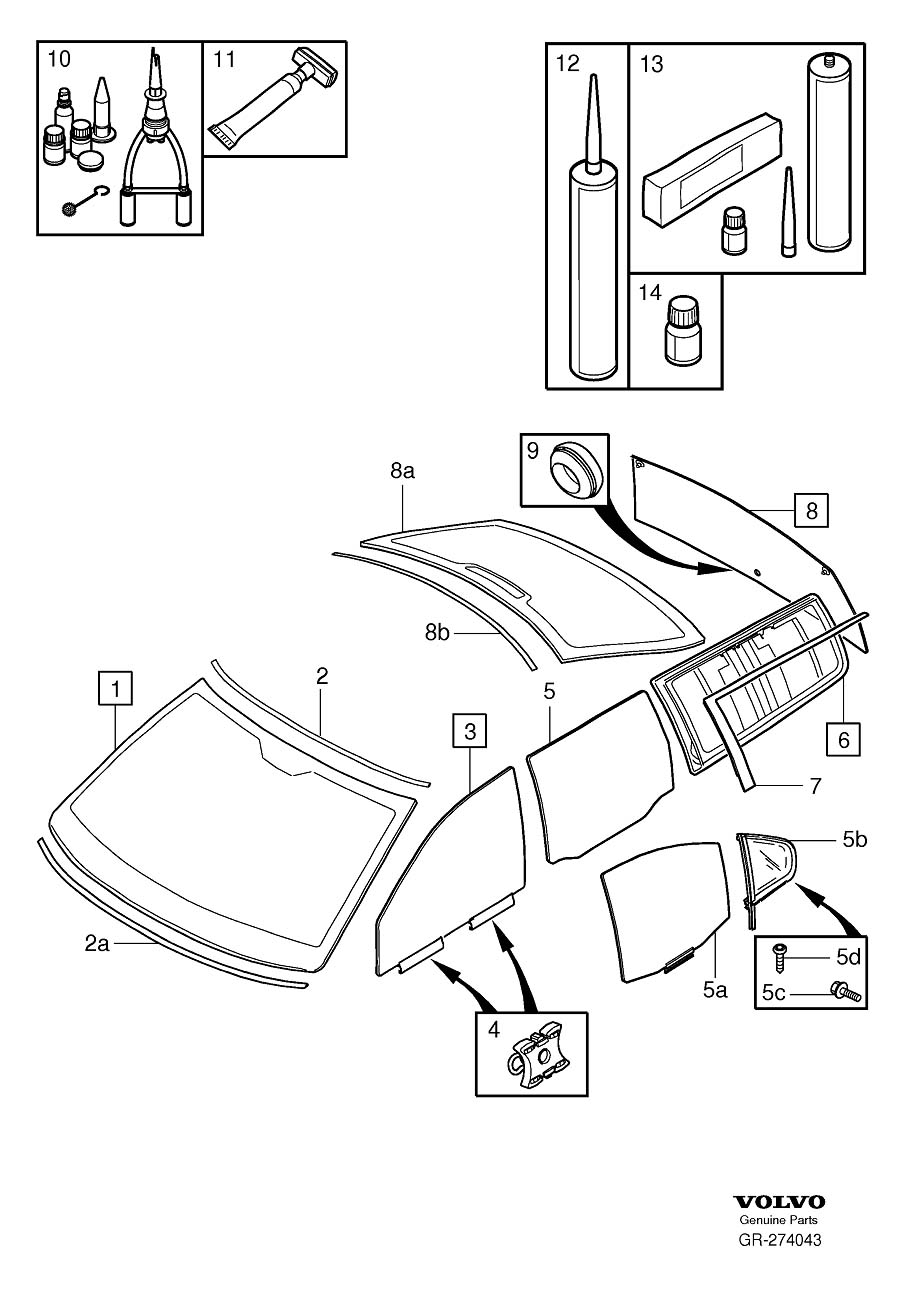 Diagram Windshield, rear window and door windows for your Volvo 240