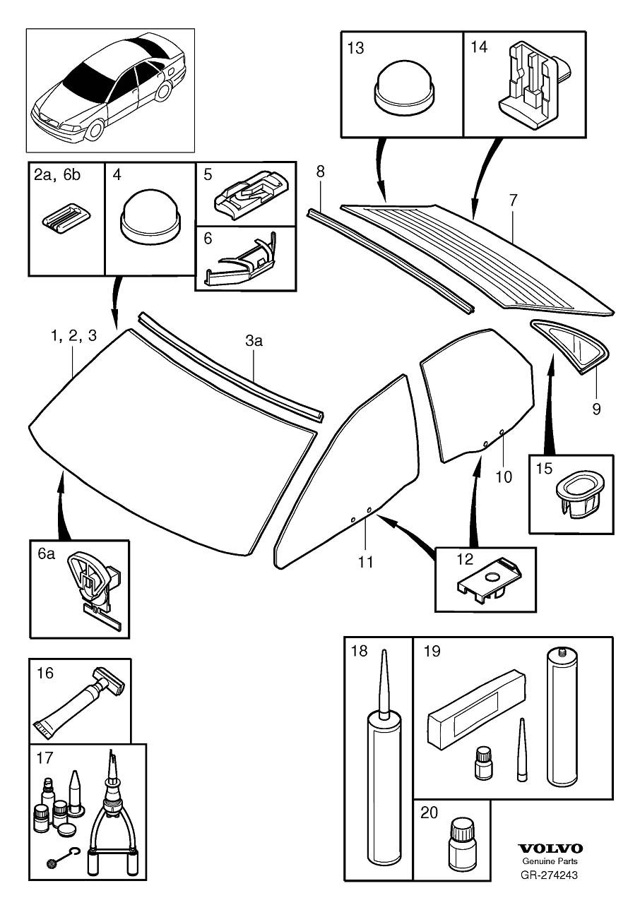Diagram Windshield, rear window and door windows S40 for your Volvo 240