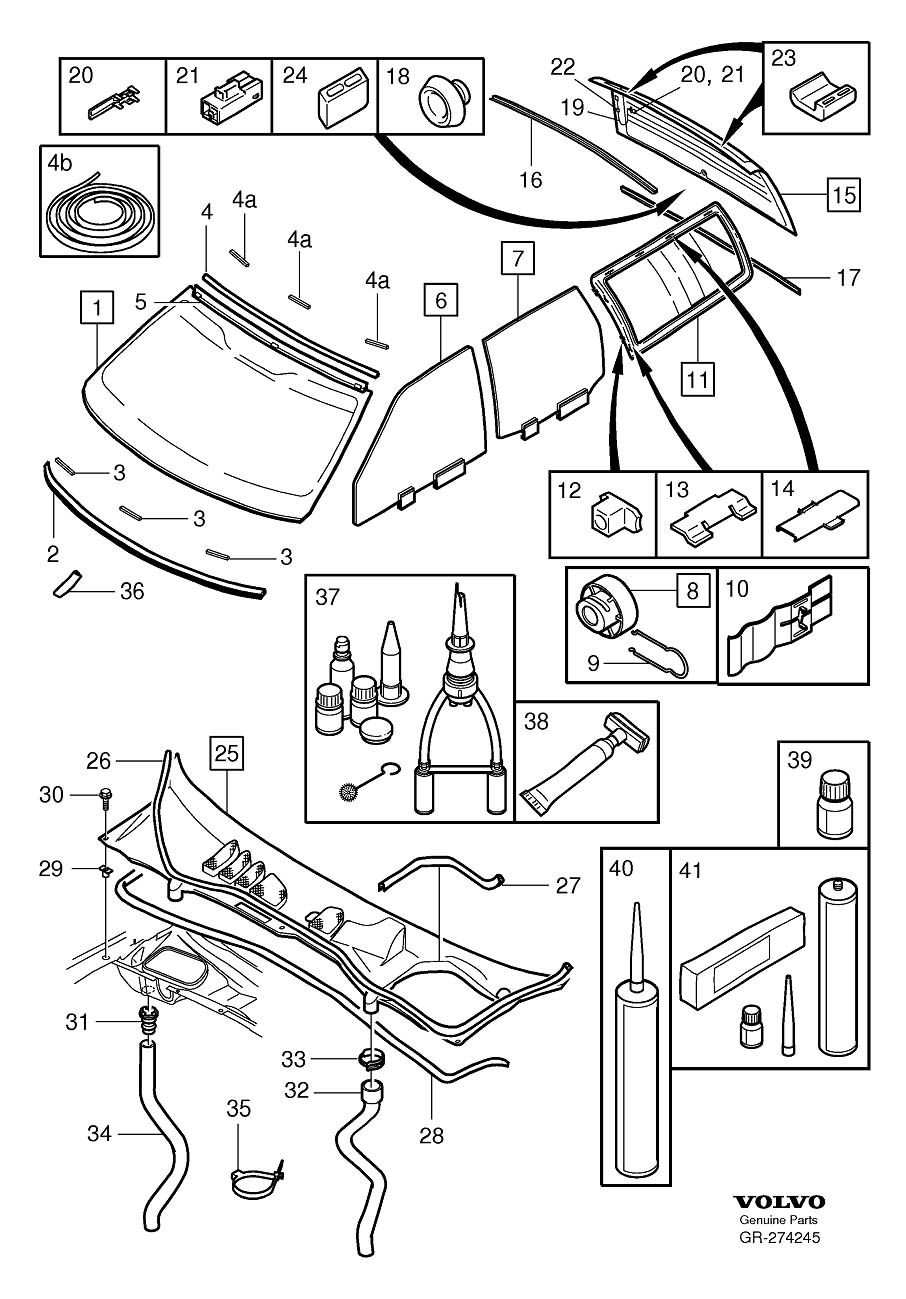 Diagram Windshield, rear window and door windows windscreen drainage V70, V70XC for your Volvo 240