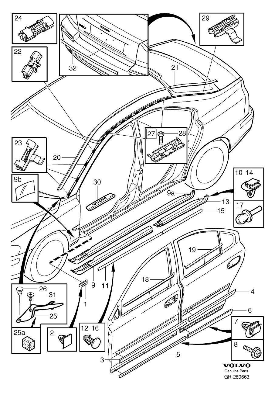 Diagram Trim mouldings S60 for your 1999 Volvo