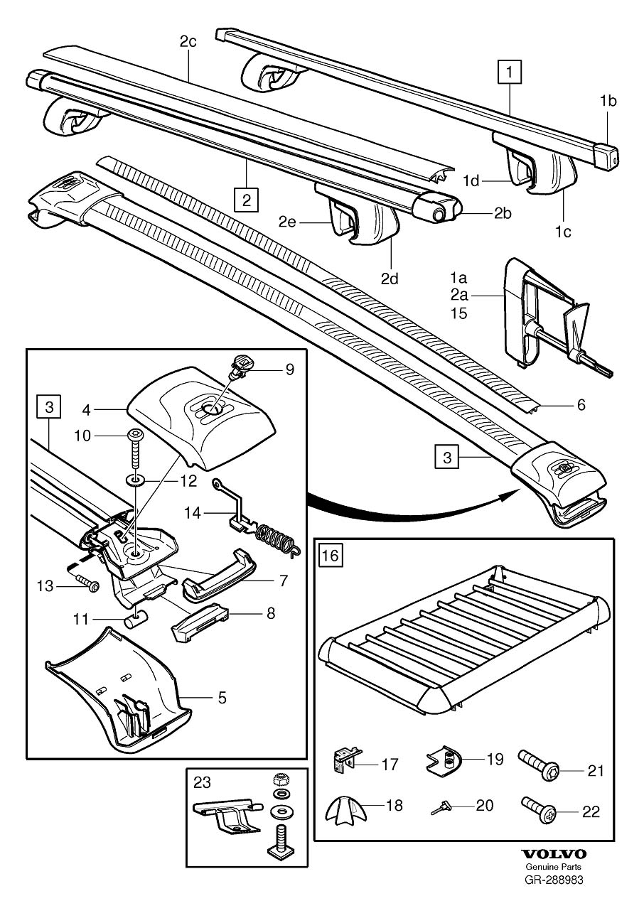 Diagram Load retainer with rails for your 2005 Volvo V70