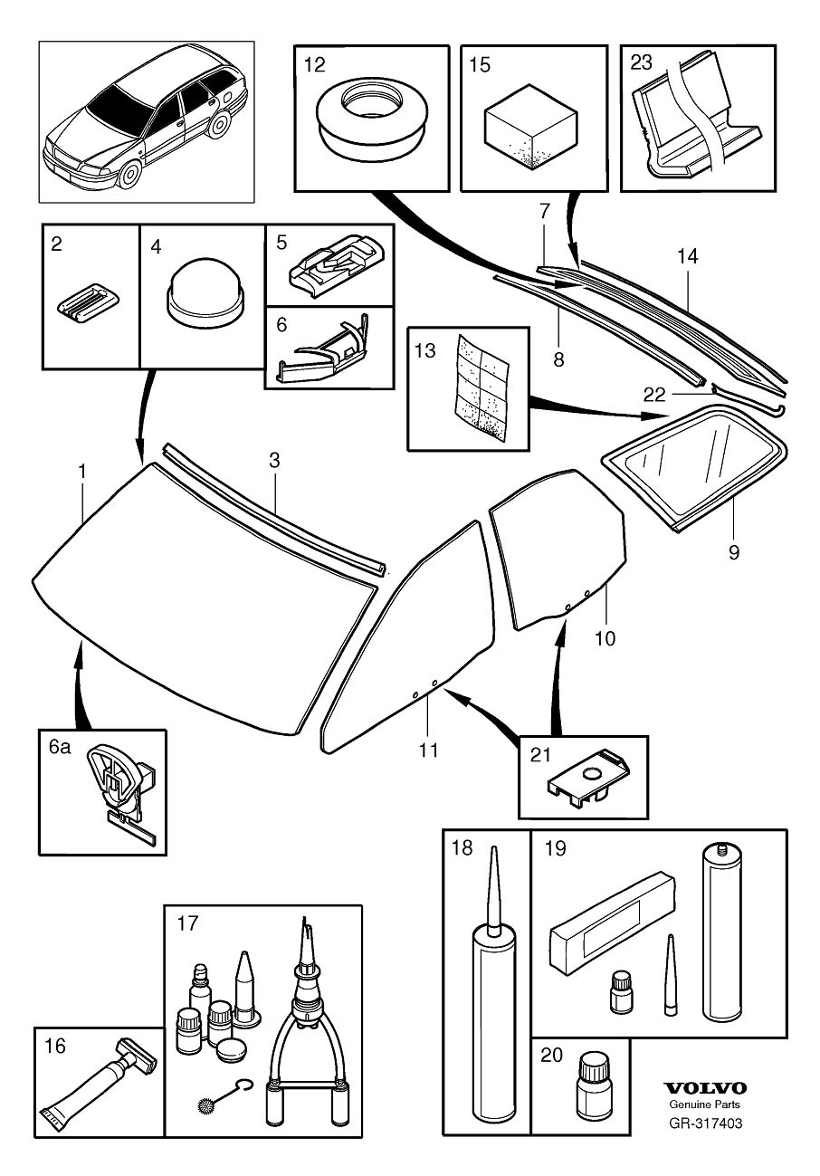 Diagram Windshield, rear window and door windows V40 for your Volvo 240