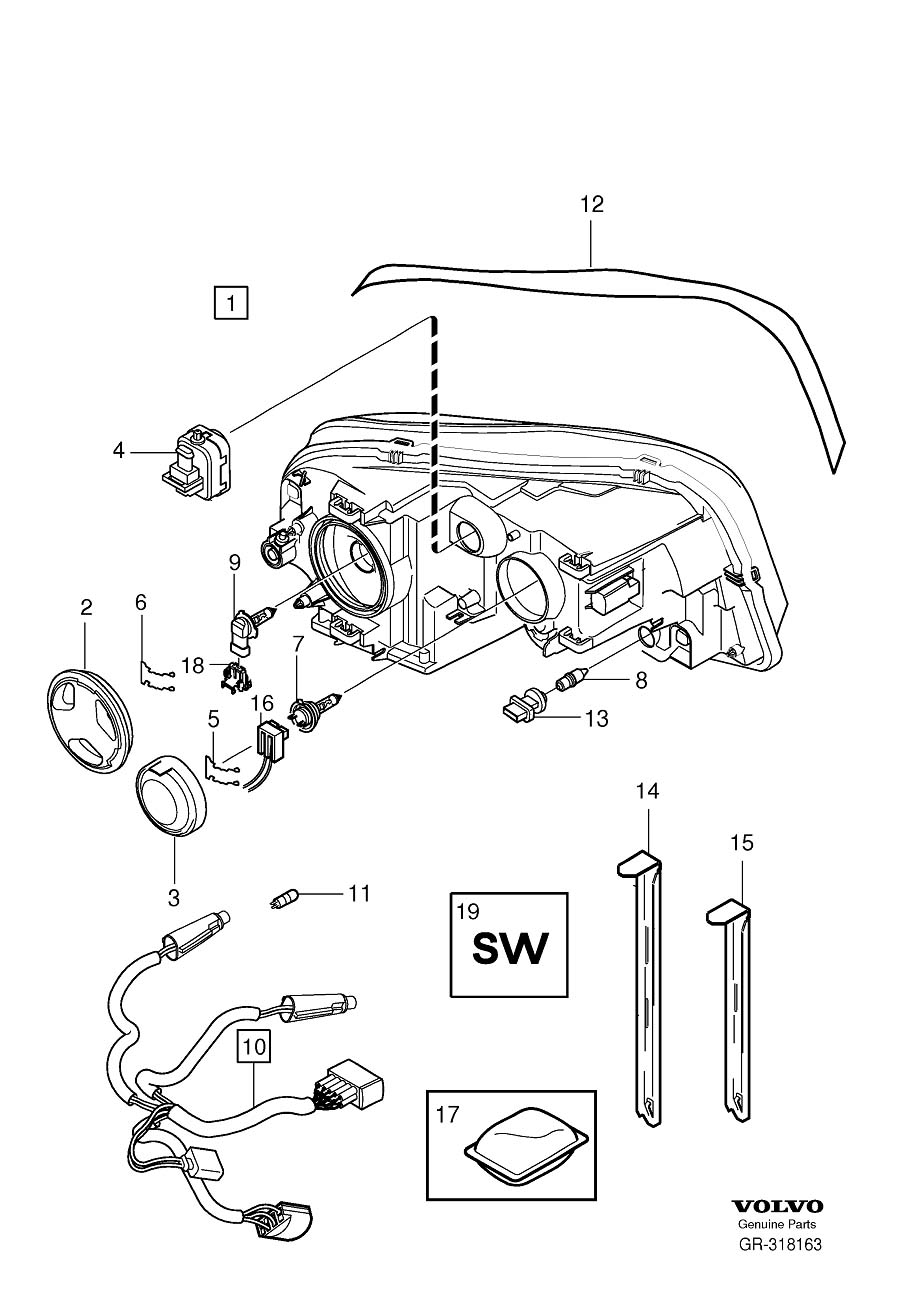 2004 volvo xc90 headlight parts diagram  volvo  auto