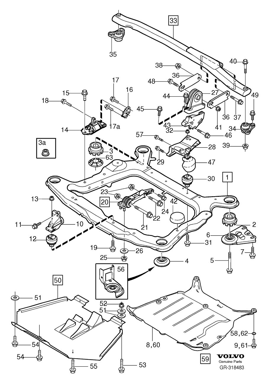 Diagram Engine mounting 5-Cylinder for your Volvo