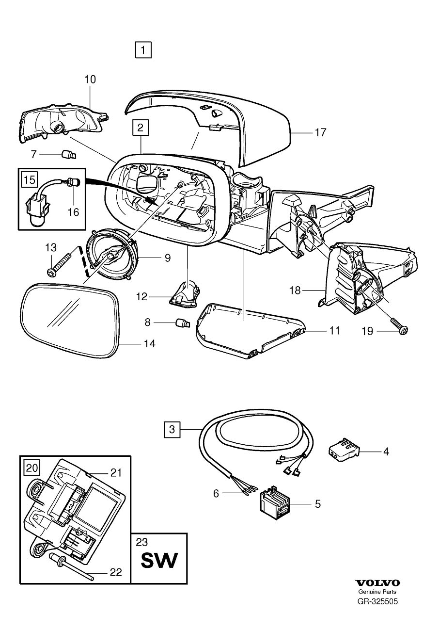 Diagram Rearview mirrors with memory for your 2009 Volvo S40