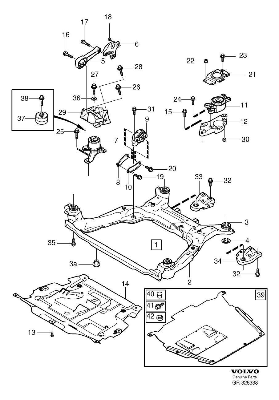 Diagram Engine mountings 5-Cylinder for your Volvo S60L