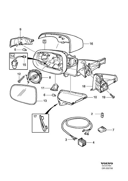 Diagram Rearview mirrors, Blind Spot Information System (BLIS) for your 2009 Volvo S40