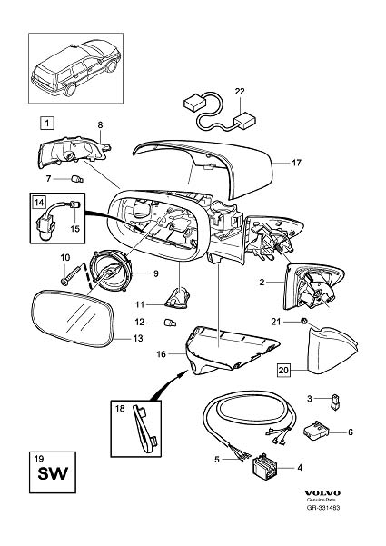 Diagram Rearview mirrors Blind Spot Information System (BLIS) S60/V70 2007- for your 2009 Volvo S40