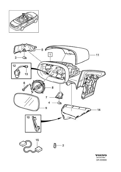 Diagram Rearview mirrors Blind Spot Information System (BLIS) 2008- for your 2009 Volvo S40