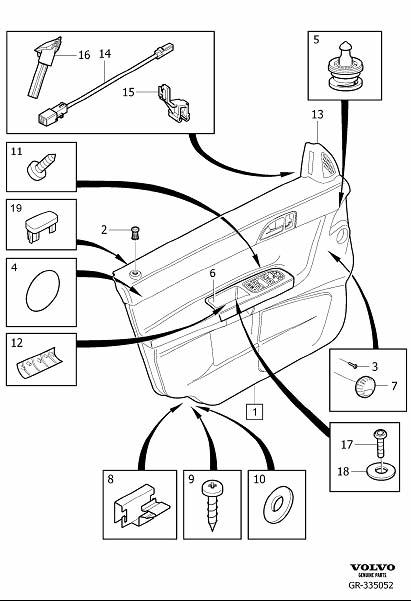 Diagram Parts for front door panel 2008- for your 2009 Volvo S40
