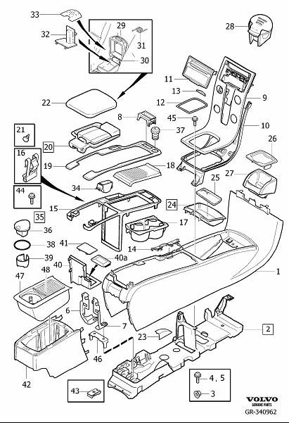 Diagram Transmission tunnel console 2008- for your 2009 Volvo S40