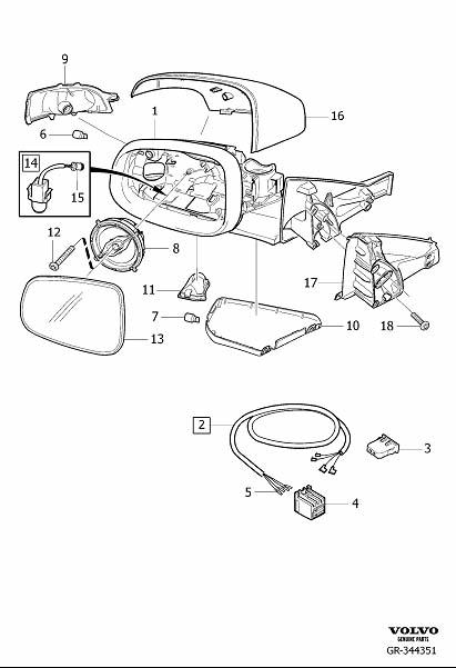 Diagram Rearview mirrors manually retractable for your 2009 Volvo S40