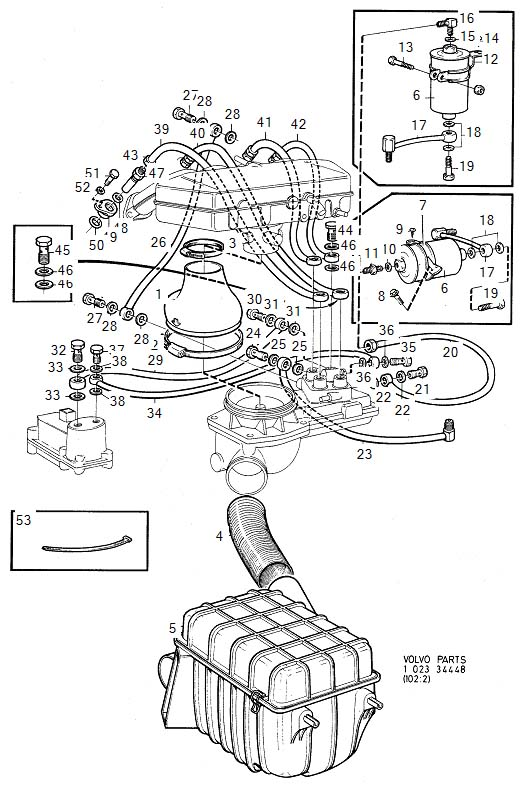 Diagram Injector with engine fuel pipes and fuel filter for your 1975 Volvo 240 2.1l Fuel Injected