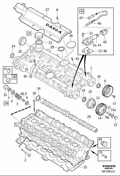 Diagram Cylinder head 6-Cylinder Supplied without camshaft and valve lifter. for your 2000 Volvo