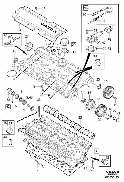 Cylinder head 5-Cylinder Supplied without camshaft and valve lifter. Diagram