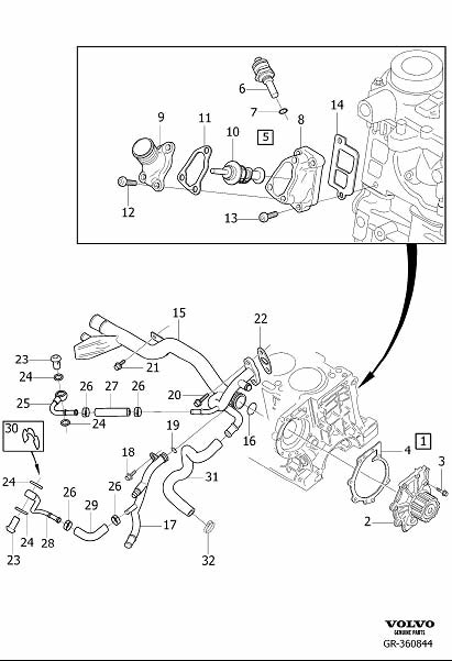 Diagram Coolant pump, thermostat and cable for your 2007 Volvo V70 XC 5DRS S.R 2.5l 5 cylinder Turbo