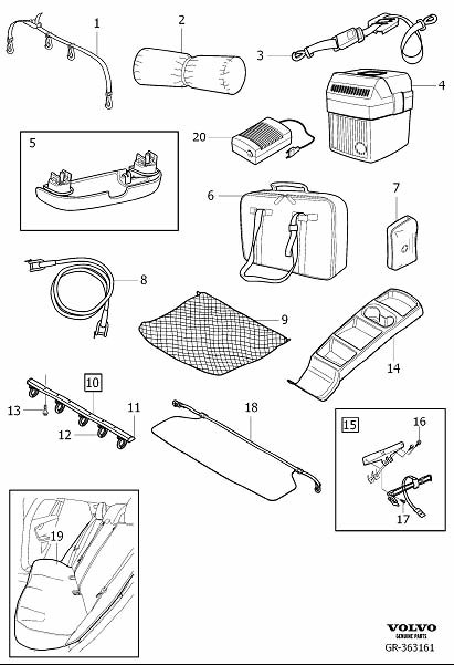 Diagram Accessories, passenger compartment for your Volvo S60 Cross Country