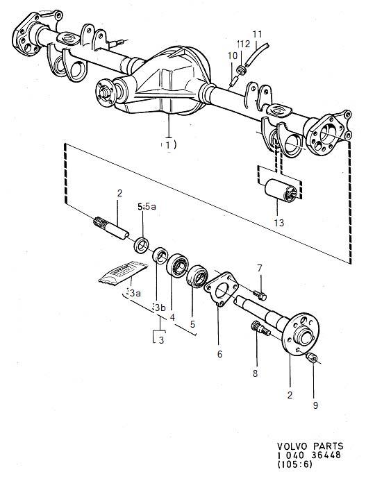 Rear axle -1991 1992- Differential lock. 1985 1986- Diagram