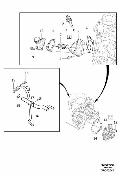 Diagram Coolant pump, thermostat and cable, Diesel for your 2007 Volvo V70 XC 5DRS S.R 2.5l 5 cylinder Turbo