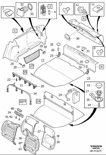 Diagram Interior trim luggage compartment for your 2009 Volvo S40