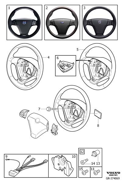 Diagram Steering wheel, 3-spoke for your 2009 Volvo S40