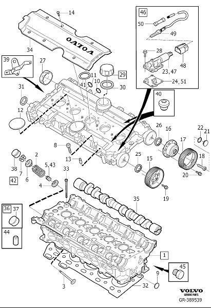 Cylinder head 5cyl supplied without camshaft and valve lifter. Diagram