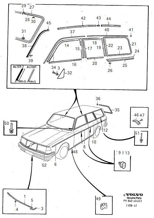 Diagram Trim mouldings 5-Door -1985 for your Volvo 240