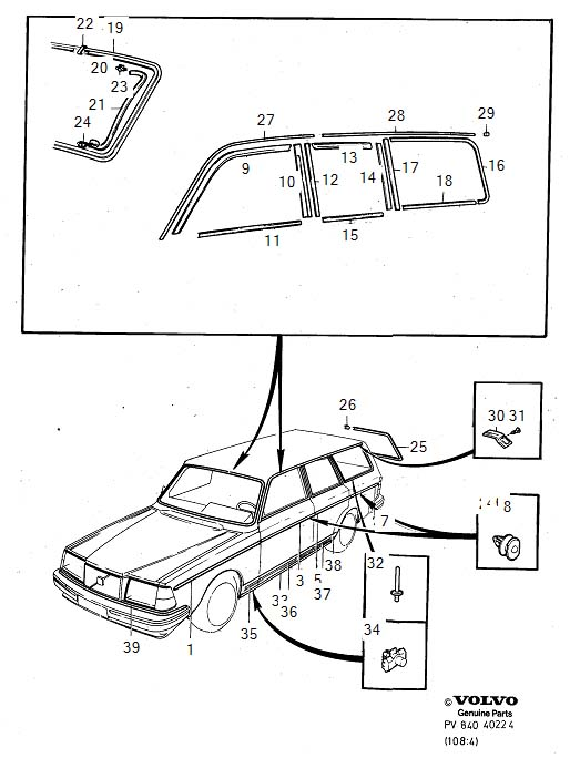 Diagram Trim mouldings 5-Door 1986- for your 1977 Volvo 240