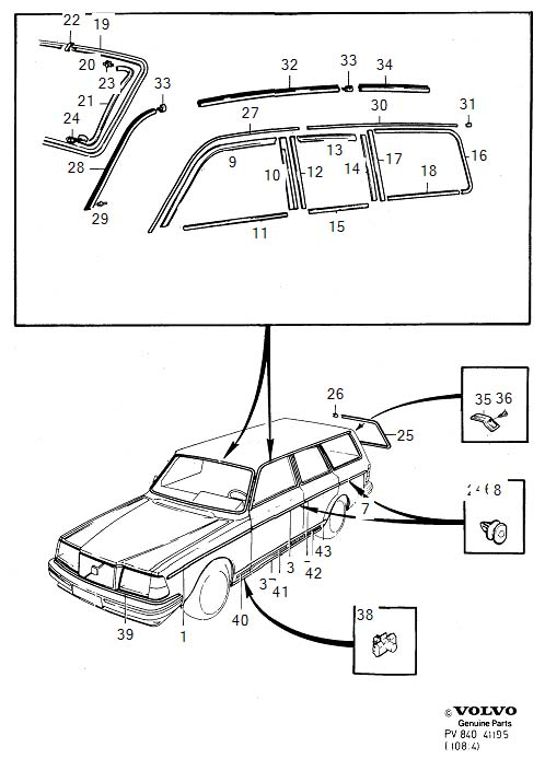 Diagram Trim mouldings 5-Door 1986- for your Volvo 240