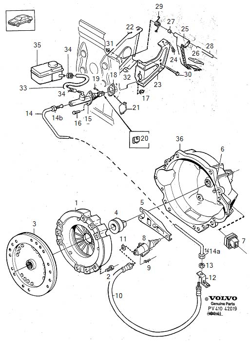 Diagram Clutch control 6-Cylinder for your 1975 Volvo 240 2.1l Fuel Injected