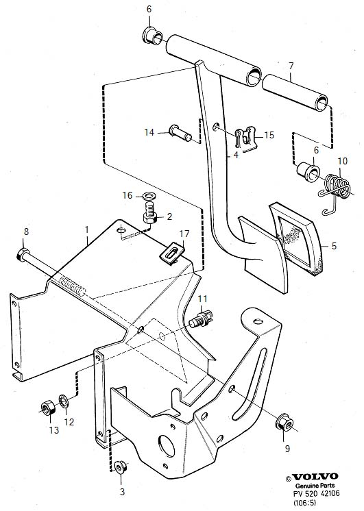 Diagram Brake pedal with assembly parts for your 1975 Volvo 240 2.1l Fuel Injected