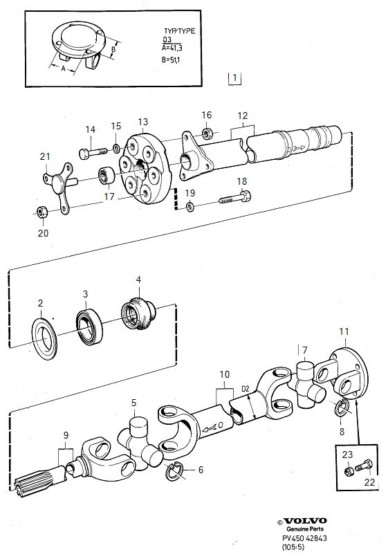 Diagram Propeller shaft type 03 for your Volvo