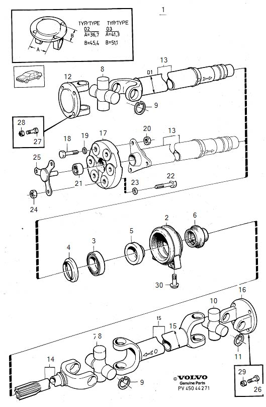 Diagram Propeller shaft center bearing and mounting 4-Cylinder for your Volvo