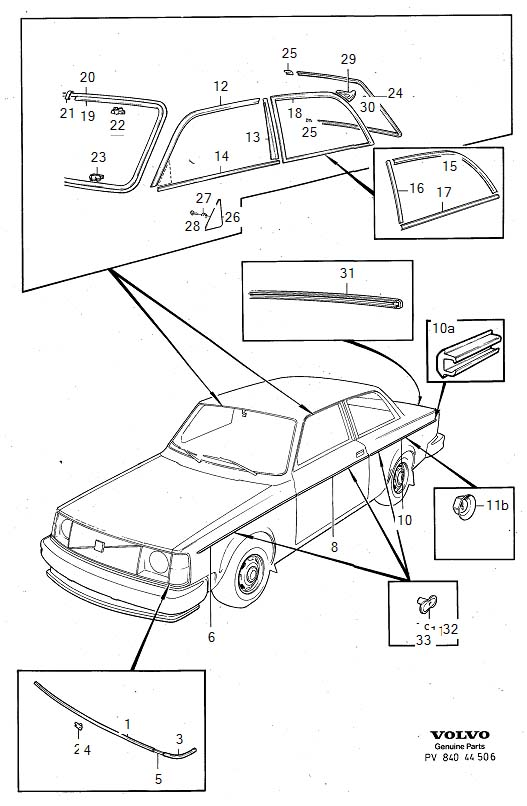 Diagram Trim mouldings -1980. for your Volvo 240