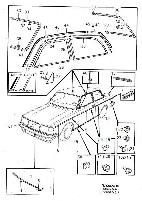 Diagram Trim mouldings 242 1981- for your Volvo 240