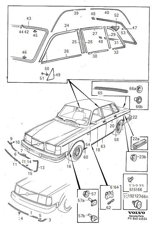 Diagram Trim mouldings 4-Door -1980 for your Volvo 240