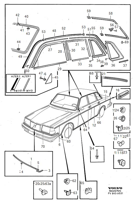Diagram Trim mouldings 4-Door 1981- for your 1982 Volvo 240