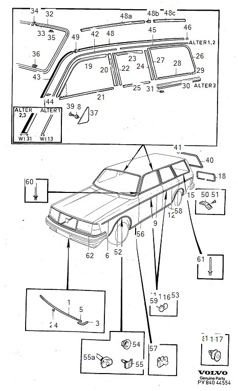 Diagram Trim mouldings 5-Door 1981- for your Volvo 240