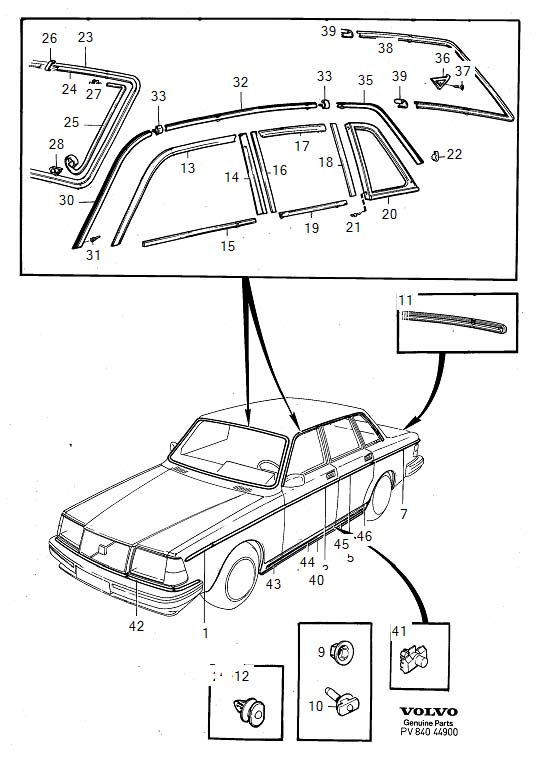 Diagram Trim mouldings 4-Door 1986- for your 1977 Volvo 240