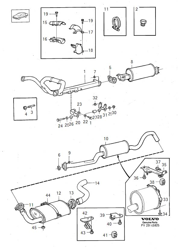 Diagram Exhaust system B280E 1988. for your Volvo S60 Cross Country