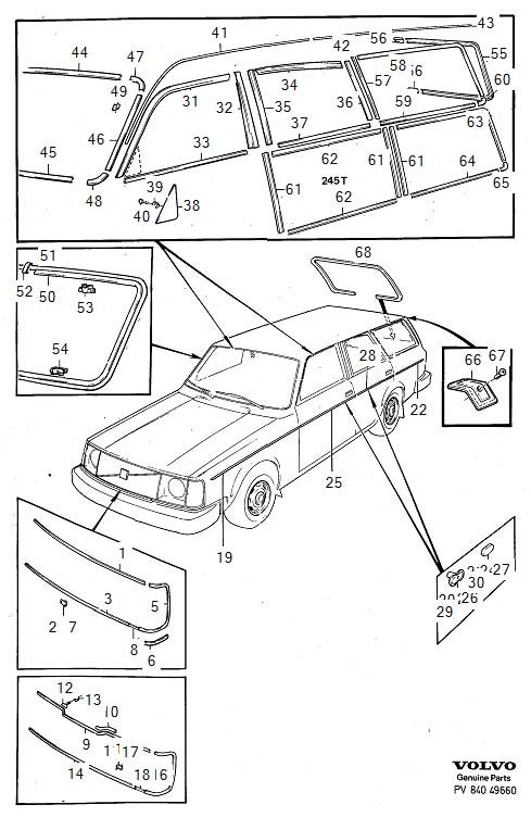 Diagram Trim mouldings 245, 265. for your Volvo 240